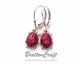 Silver Ladybug Earrings - Red Ladybug Earrings - Ladybug Jewelry - Insect Earrings - Insect Jewelry