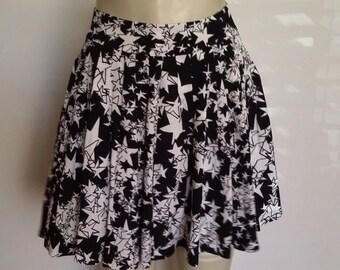 Stars skirt, XS, S, mini skirt, organ pleated skirt, black mini skirt, summer skirt, fall skirt, celestial skirt
