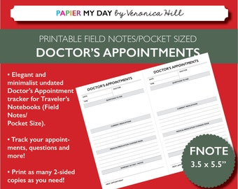 Printable Doctor's Appointment Tracker - Made for Pocket and Field Notes Size Travelers Notebooks