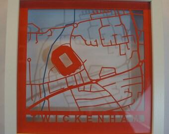 England - Twickenham - Laser cut map - White