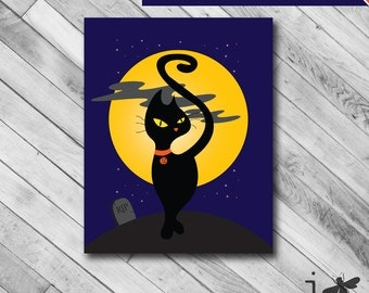 Instant Download 8x10 & 7x5 Horizontal - RIP Halloween Black Cat