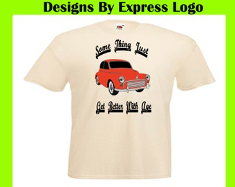 Morris Minor Classic British CarThings Get Better With Age Printed Natural  T Shirt Tee