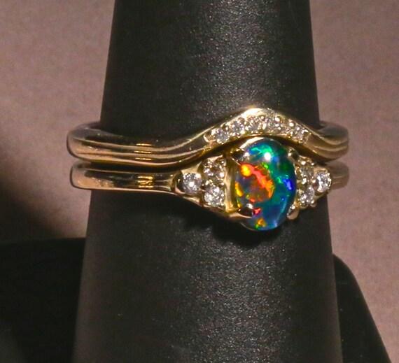 Opal & Diamond Ring Wedding set 14K or 10K Solid by AmyKJewels