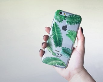 20% SALE Samsung Galaxy s6 case Palm Tree Leaves iPhone 7 Case, Clear Case, Silicone Phone Case, Paradise Phone Cover, Flexible Case, Nature