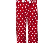 Monogrammed Flannel Pants in red, personalized flannel pajama pant, monogrammed pajamas, Flannel pjs, polka dot flannel pj, bridesmaid gifts