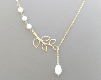 Branch, Pearl, Lariat, Gold, Silver, Necklace, Wedding, Branch, Pearl, Tree, Necklace, Bridesmaid, Necklace, Modern, Jewelry, Gift