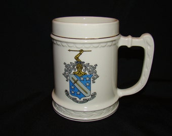 Phi Delta Theta Fraternity Ceramic Mug Balfour Attleboro Massachusetts Crest College University School Greek Pledge Collegiate Beer Stein