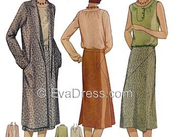 1929 Blouse, Skirt & Coat Pattern by EvaDress