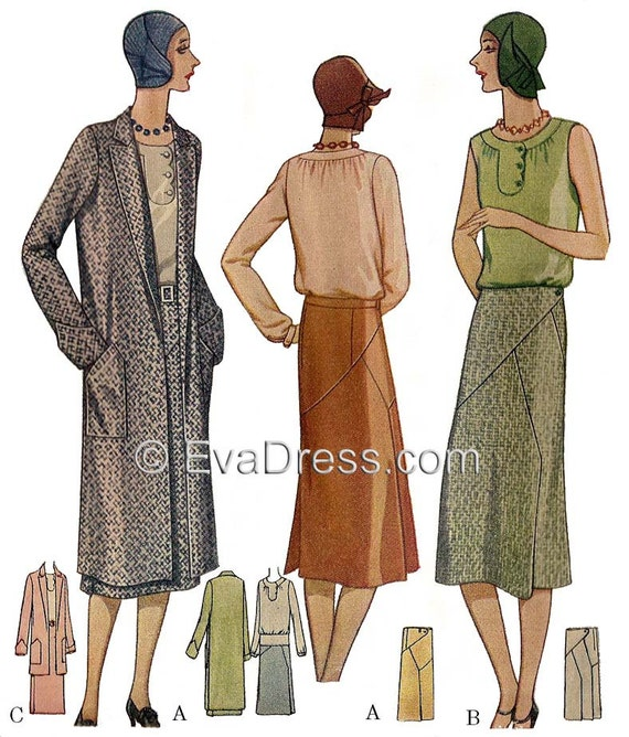 1930s Fashion Colors, Clothing & Fabric 1929 Blouse Skirt & Coat Pattern by EvaDress  AT vintagedancer.com