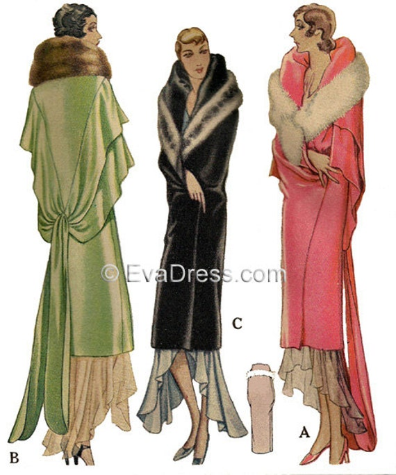 1930s Dresses, Clothing & Patterns Links 1929 Deco Evening Wrap Pattern $22.00 AT vintagedancer.com