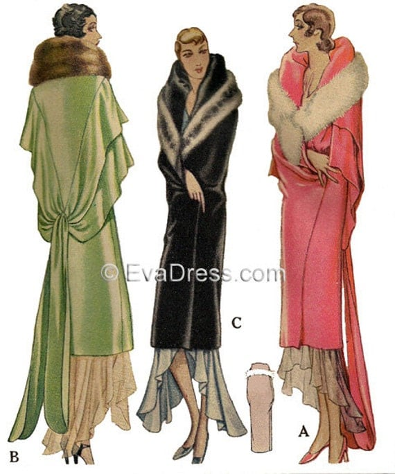 History of 1920s Coats, Furs and Capes 1929 Deco Evening Wrap Pattern $22.00 AT vintagedancer.com