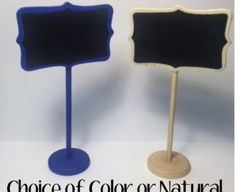 5 Mini Chalkboard Table Stands - Customized Color Choices or Natural - Perfect for Weddings, Candy Buffet Tables, Parties and Events