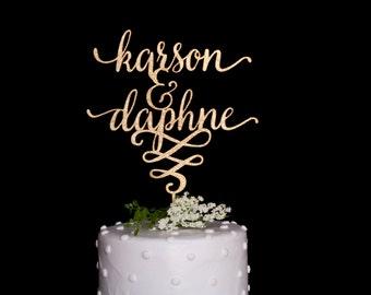 Custom Calligraphy Name & Name Wedding Cake Topper-Gold