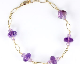 Amethyst and Gold Chain Bracelet