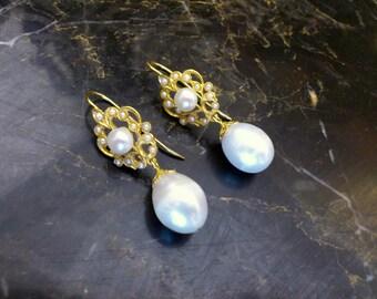 Bridal Gold Pearl earrings,bridal jewelry,wedding pearl earrings, gold seed pearls earring,yellow gold pearl earrings