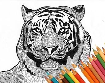 Tiger coloring page, coloring tiger, tiger animal, zentangle tiger, tiger marker, tiger download, tiger print design, instant download draw