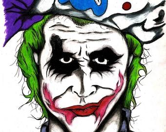 THE JOKER - The Dark Knight Movie Character Print - Wall Art, Tattoo Art Print, New Orleans Artist, Villain, Cool, Birthday, Purple, Green