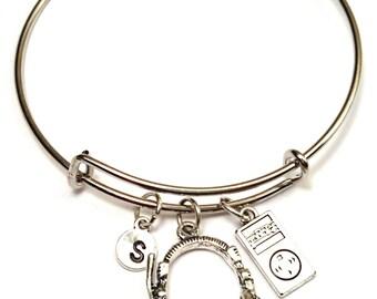 Happy Birthday Bangle Bracelet Adjustable by GustavsDachshundShop