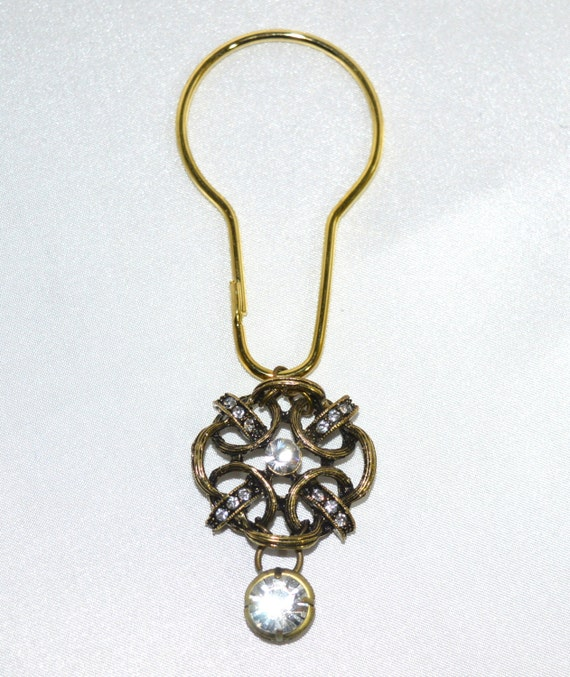 Rope Medallion Shower Curtain Hooks Antique Gold Rhinestone