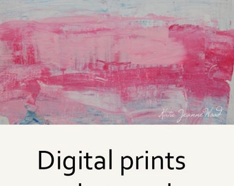 Pink & White Abstract Painting Print. Pink Abstract Cottage Chic Decor. 61