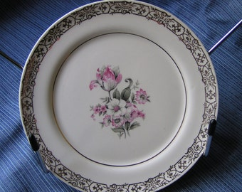 "Candle Light (American Limoges)  ""Masterpiece"" Pattern Bread Plate 1949"