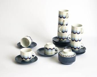 Beautiful Vintage Retro 10 Coffee Cups Set with Sugar Bowl - Winterling Schwarzenbach - Bavaria Germany - Stoneware