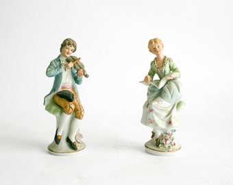 Capodimonte Porcelain Figurines Boy and Girl Musicians - Made in Italy