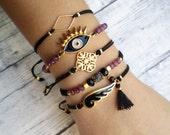 Beaded bracelet, gemstone bracelet, friendship bracelet, macrame bracelet, agate, jade, modern, gold, bracelet set, jewelry, gift for her