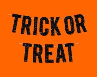 """Black Sparkly """"Trick or Treat"""" Banner - Digital Printable Instant Download"""