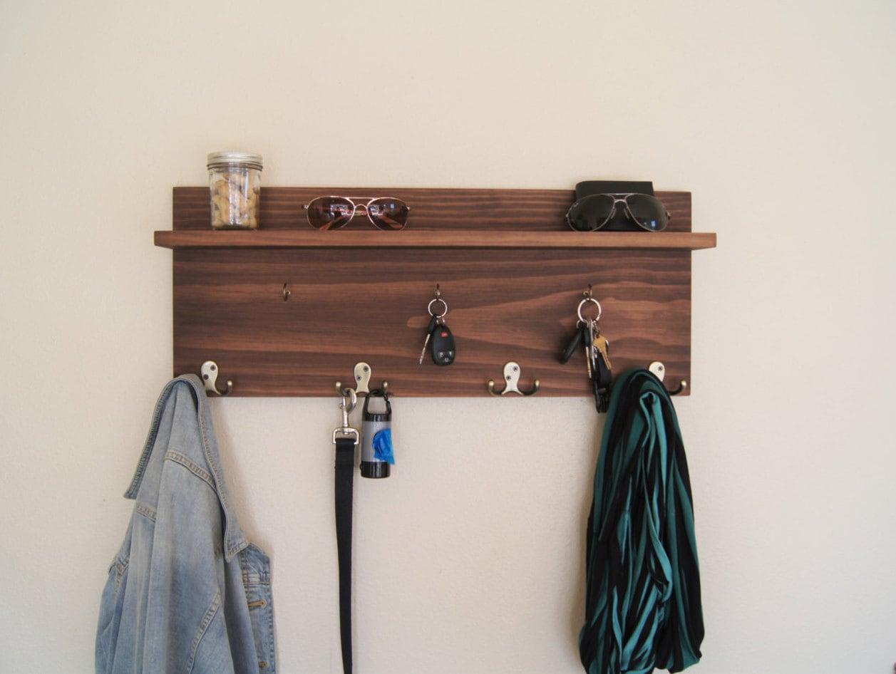 Long Foyer Key : Entryway floating shelf with coat and key hooks backpack