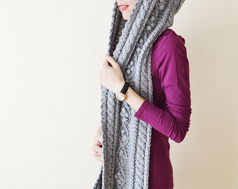 Hooded scarf Chunky scarf Knit scarf Scoodie Gray hooded scarf Wool scarf Hood scarf Cable knit scarf Oversized scarf Long scarf Womens gift
