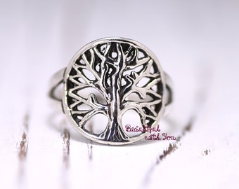 Tree of Life Ring Sterling Silver Womens Silver Rings Tree of life band Unique Band Celtic Sterling Silver Tree Ring Silver Tree Ring