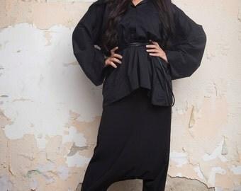 Kimono shirt / Black long sleeve blouse / Black cotton blouse / Elegant Shirt / Long sleeves / Black blouse / Top
