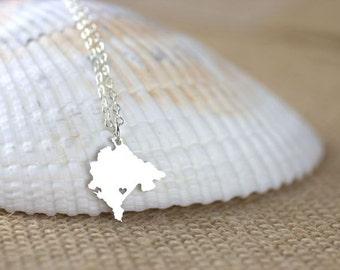 Montenegro Necklace - I heart Montenegro Jewelry, Country map necklace, Montenegro Charm, Podgorica, Montenegro pride