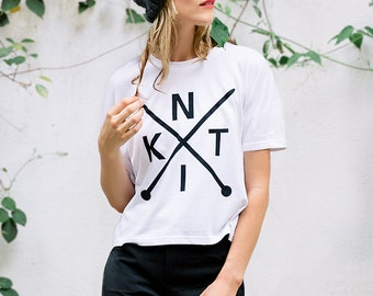 Screen Printed Tshirt for Knitters, Boxy Tshirt, Original geometric KNIT design, Cotton Blend, One Size, KNIT graphic tee, cropped tshirt