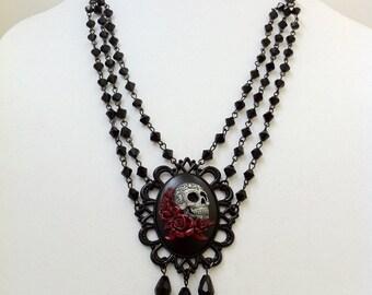 Day Of The Dead Cameo Necklace Dia De Los Muertos Memento Mori Lady Of The Dead Gothic Jewelry Victorian Horror