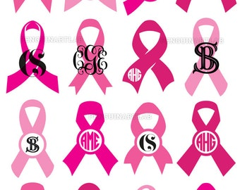 Awareness Ribbons Monogram Pack | SVG, Eps, DXF, PNG, Studio3 | Breast Cancer Cut Files for Cutting Machines | Cricut, Silhouette, Graphtec