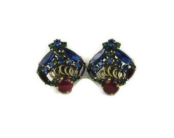 Weiss Multi Color Rhinestone Earrings