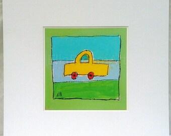 Boys car print, yellow car , boys car, fun print, kids print, boys fun print, boys car painting, yellow car, kids car, kids car print,