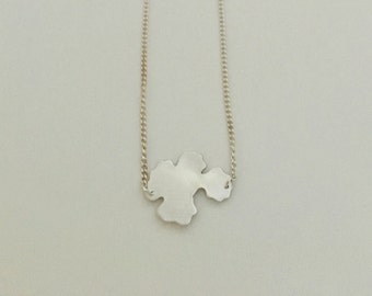 Small hydrangea flower, outline, pendant, necklace, fine silver with sterling silver chain