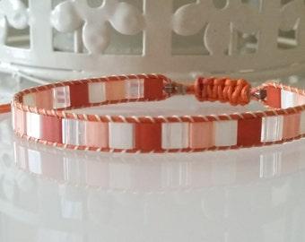 """Miyuki tila beads bracelet """"Sunshine"""" in orange, pearl and crystal"""