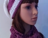 Crocheted Knit Hat and scarf set, crochet knit slouchy hat and scarf, pure organic kettle-dyed wool, cream and purple stripe, soft, squishy