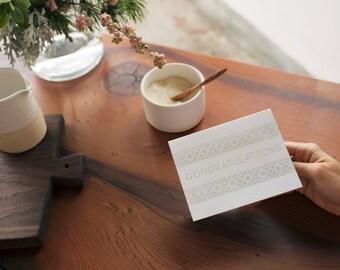 Congratulations Letterpress Folk Embroidery Card