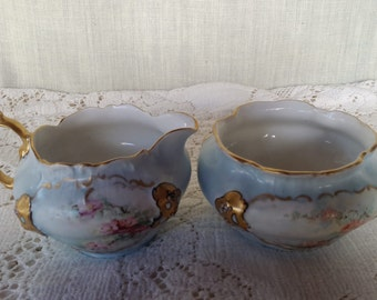 Rosenthal's Bavarian blue and gold Sugar/Creamer set, Moliere