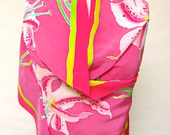 Pink Stargazer Lily hand painted silk scarf in crepe de chine