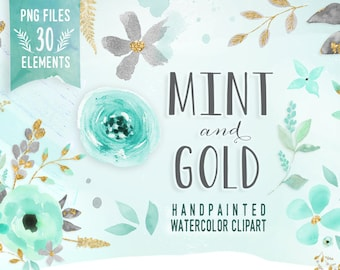 Mint and Gold - Watercolor Mint Flower Clipart, Wedding floral Clip art, Floral Bouquet Clipart, mint flowers clip art, Watercolor Clip Art