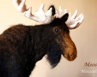 Needle felted Moose, needle felting animal, Moose soft doll, Moose sculpture Made to order, deer, antlers