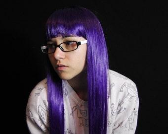 SALE - Midnight Violet - Soft Dark Purple Baby Bang Straight Long Wig - Kawaii Lolita Harajuku Cosplay Costume Hair - Ready to Ship!