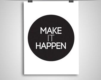 "Typography Poster ""Make It Happen"" Bubble Circle Motivational Inspirational Happy Print Wall Art"
