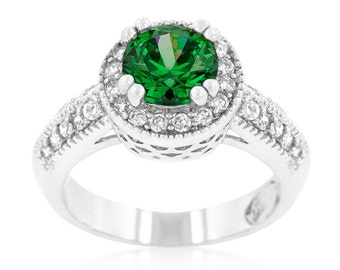 Emerald Royal Halo Ring   2 Carat Royal Halo Engagement Ring with 7mm Emerald Green Center Stone Hoisted Above a Glistening Band